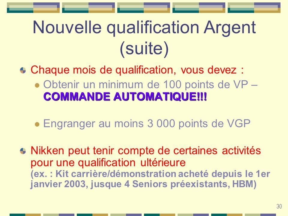 Nouvelle qualification Argent (suite)