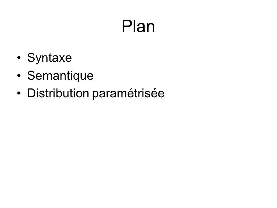 Plan Syntaxe Semantique Distribution paramétrisée