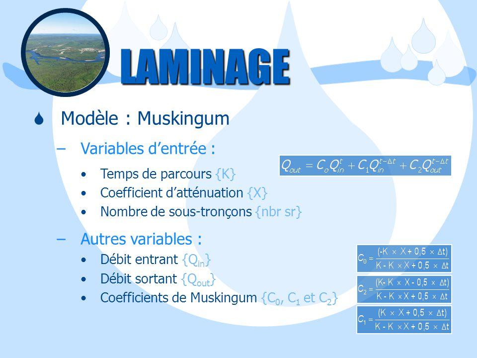 LAMINAGE Modèle : Muskingum Variables d'entrée : Autres variables :