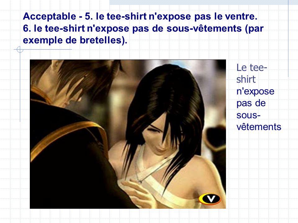 Acceptable - 5. le tee-shirt n expose pas le ventre. 6