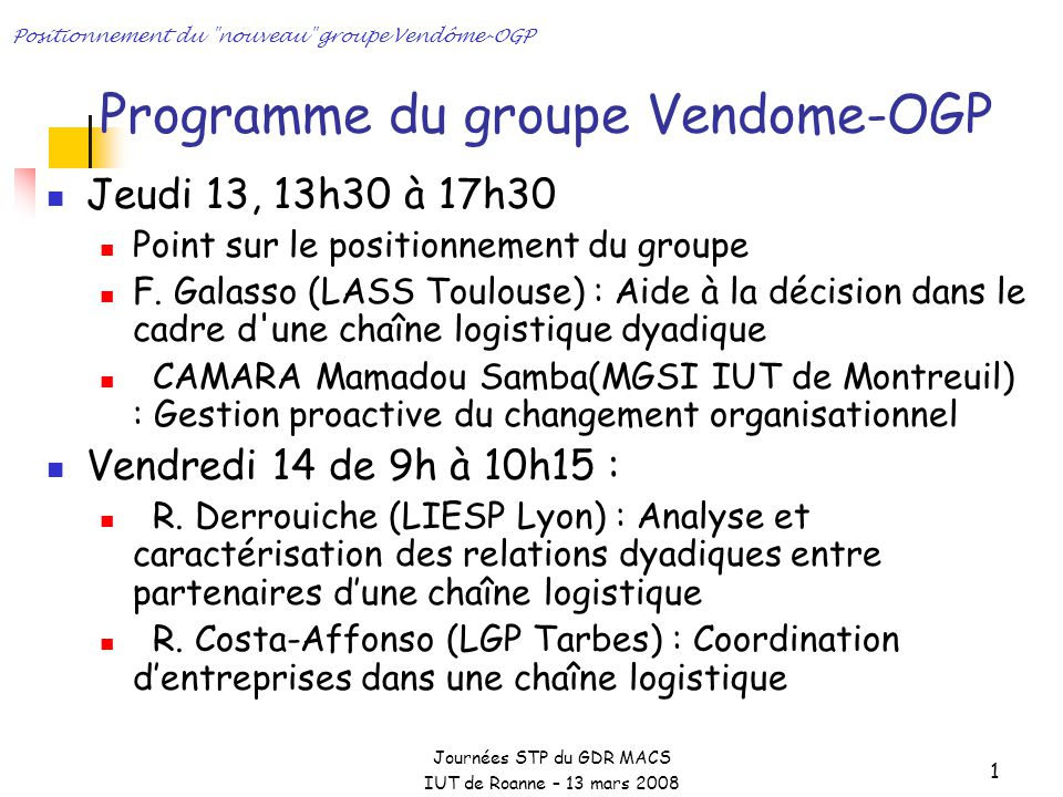 Programme du groupe Vendome-OGP