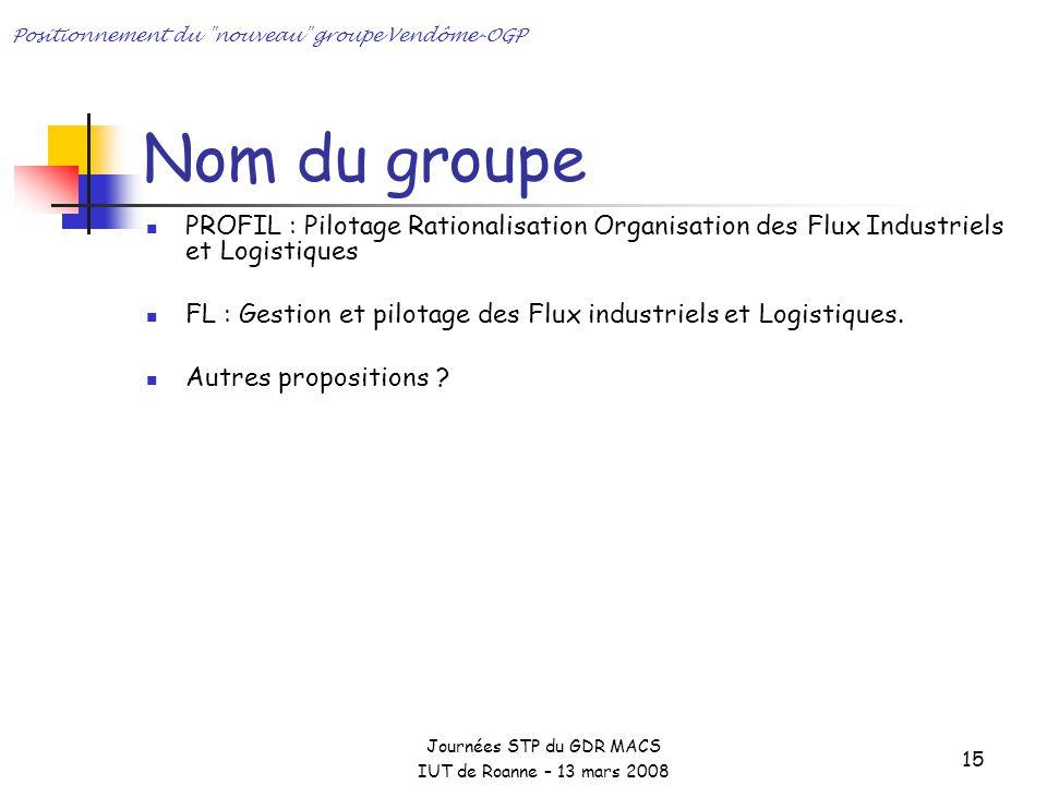 Positionnement du nouveau groupe Vendôme-OGP