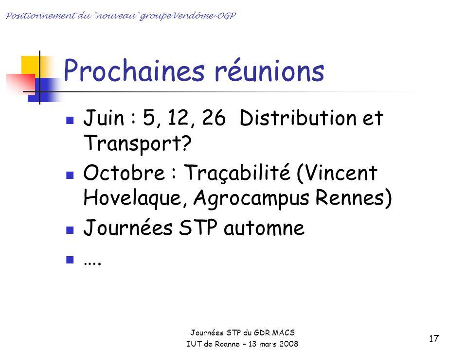 Prochaines réunions Juin : 5, 12, 26 Distribution et Transport