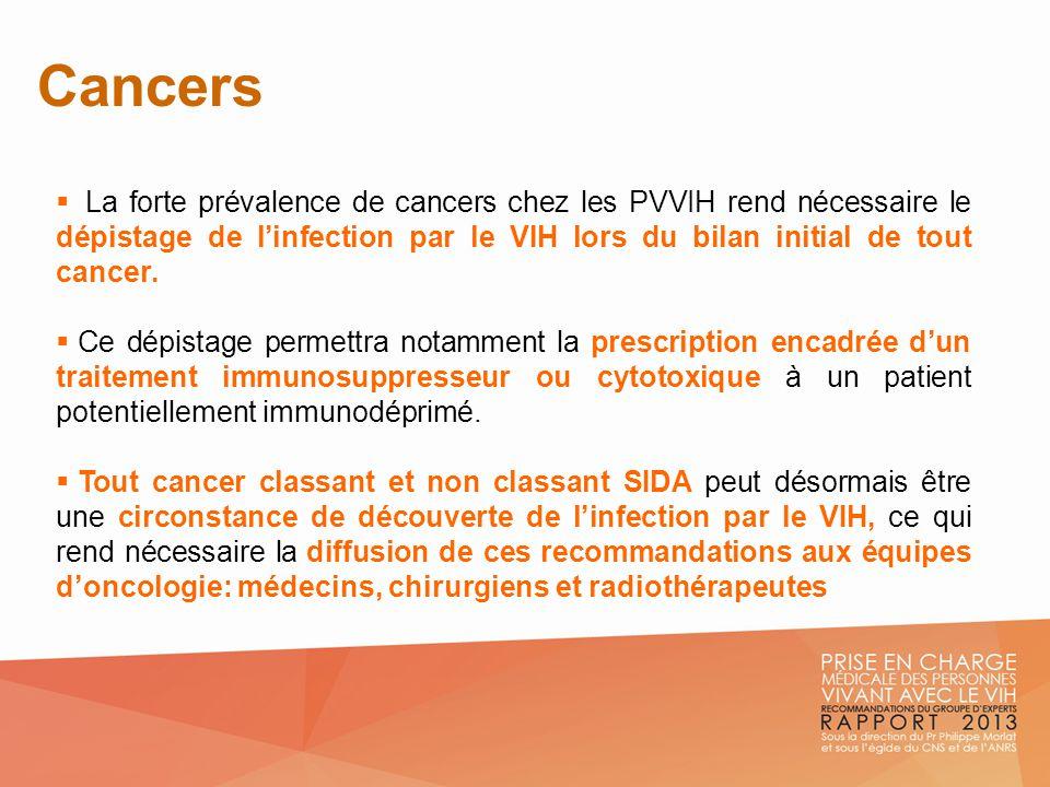 Cancers La forte prévalence de cancers chez les PVVIH rend nécessaire le dépistage de l'infection par le VIH lors du bilan initial de tout cancer.