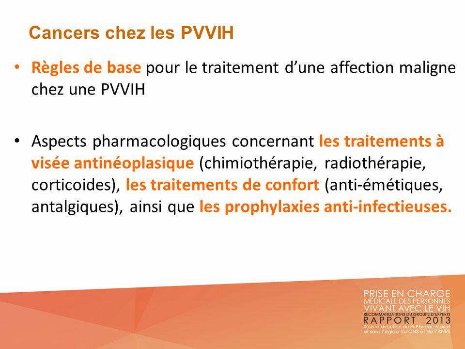 Cancers chez les PVVIH Règles de base pour le traitement d'une affection maligne chez une PVVIH.