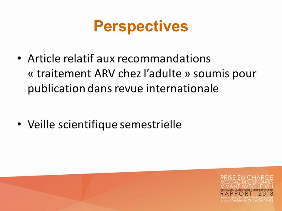 Perspectives Article relatif aux recommandations « traitement ARV chez l'adulte » soumis pour publication dans revue internationale.