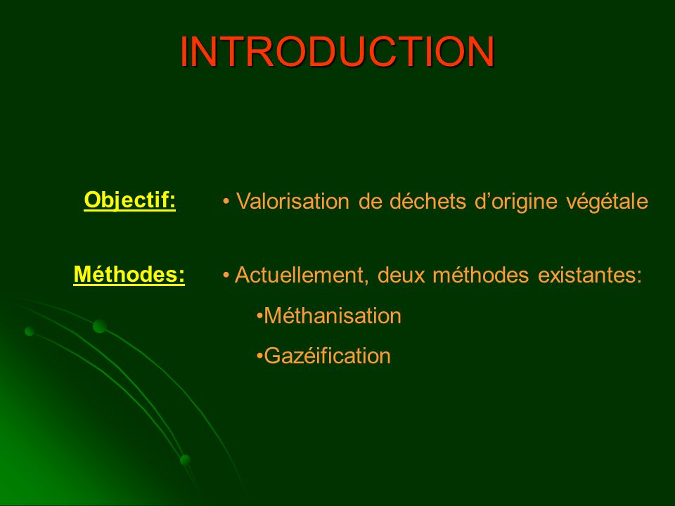 INTRODUCTION Objectif: Valorisation de déchets d'origine végétale