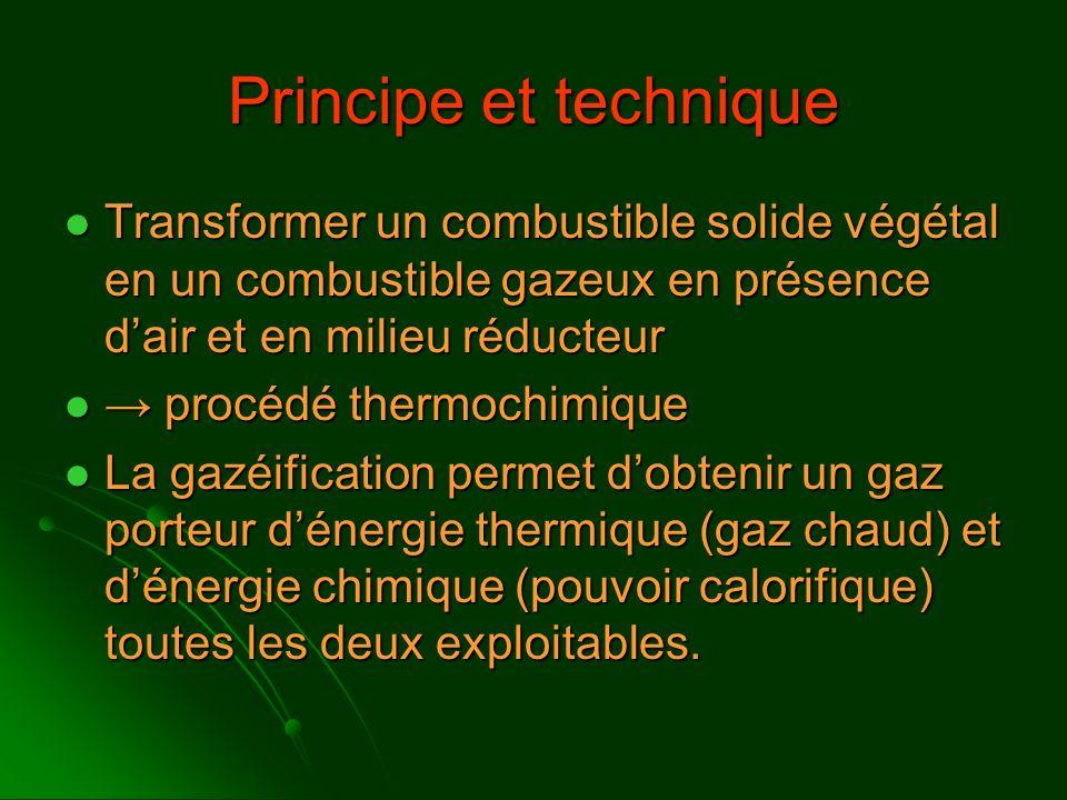 Principe et technique Transformer un combustible solide végétal en un combustible gazeux en présence d'air et en milieu réducteur.