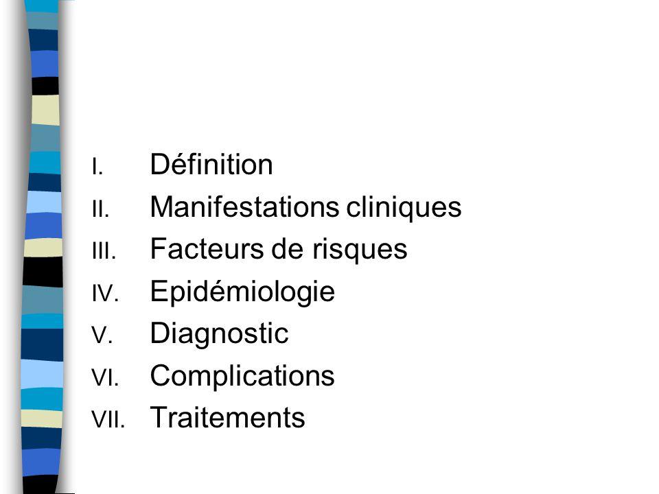 Définition Manifestations cliniques. Facteurs de risques. Epidémiologie. Diagnostic. Complications.