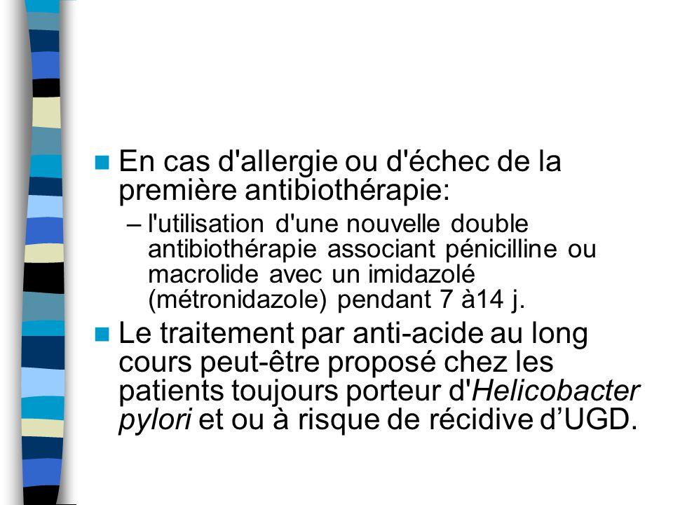 En cas d allergie ou d échec de la première antibiothérapie: