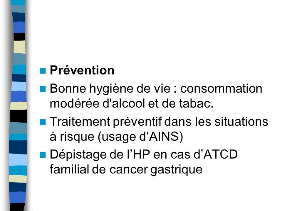 Prévention Bonne hygiène de vie : consommation modérée d alcool et de tabac. Traitement préventif dans les situations à risque (usage d'AINS)