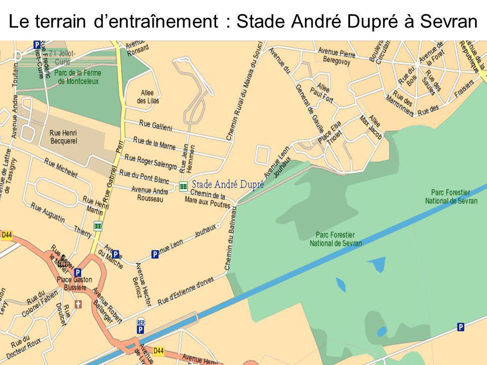 Le terrain d'entraînement : Stade André Dupré à Sevran