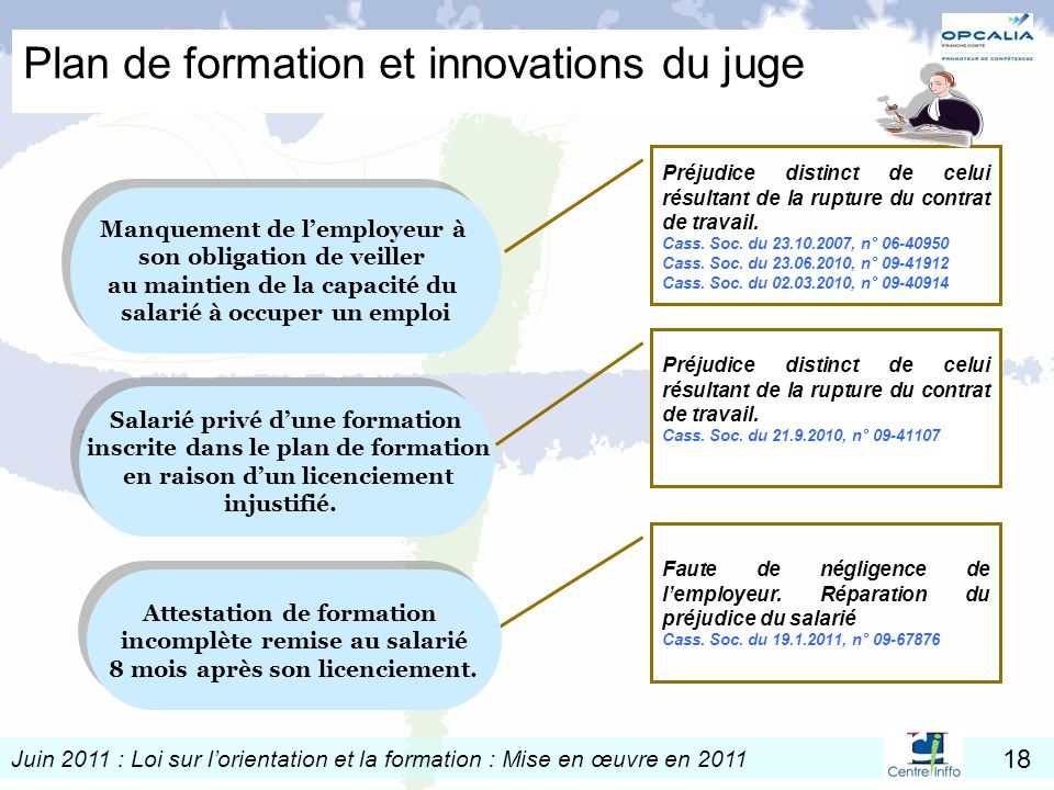Plan de formation et innovations du juge