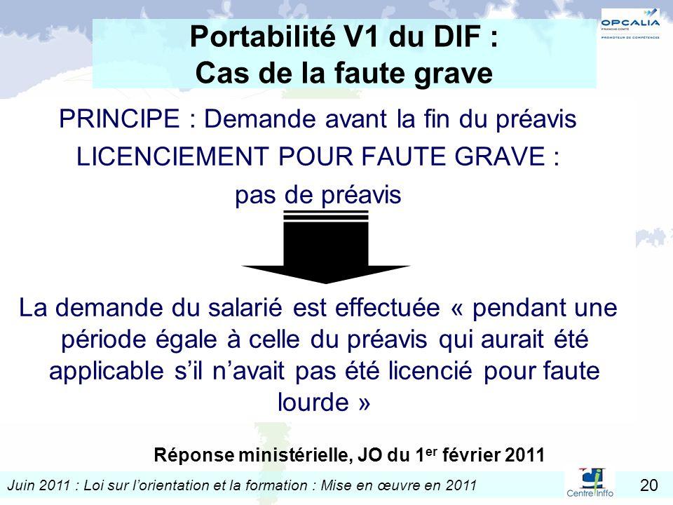 Portabilité V1 du DIF : Cas de la faute grave
