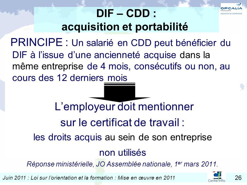 DIF – CDD : acquisition et portabilité