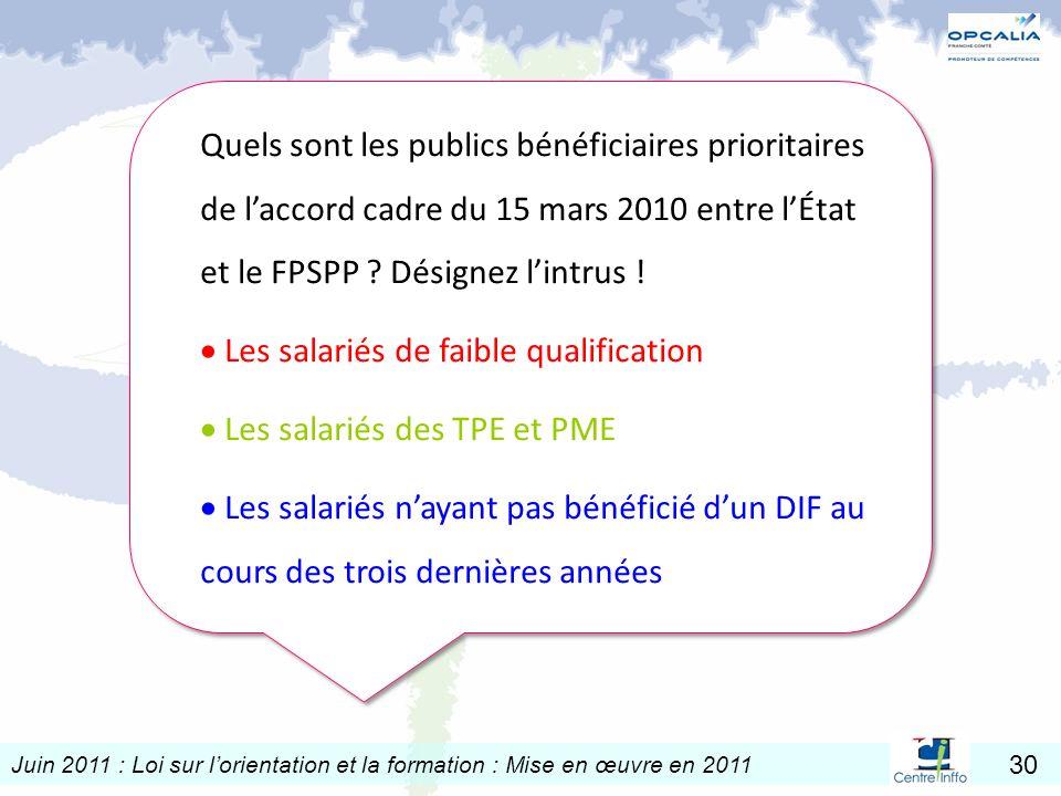 Quels sont les publics bénéficiaires prioritaires de l'accord cadre du 15 mars 2010 entre l'État et le FPSPP Désignez l'intrus !