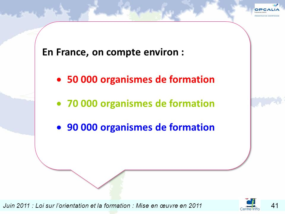 En France, on compte environ :