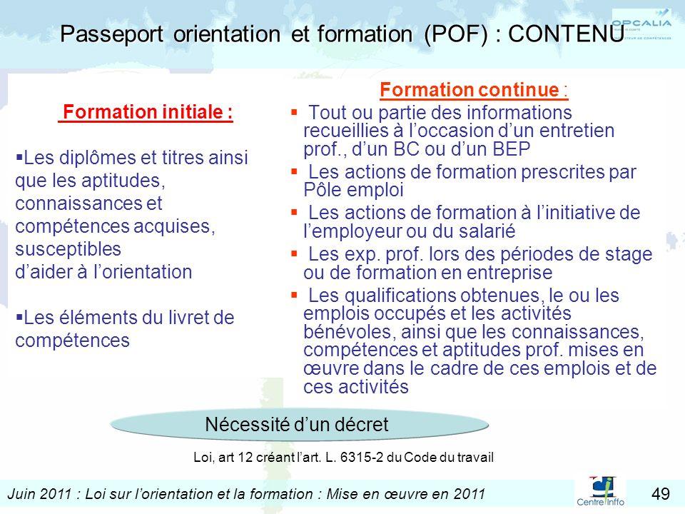 Passeport orientation et formation (POF) : CONTENU