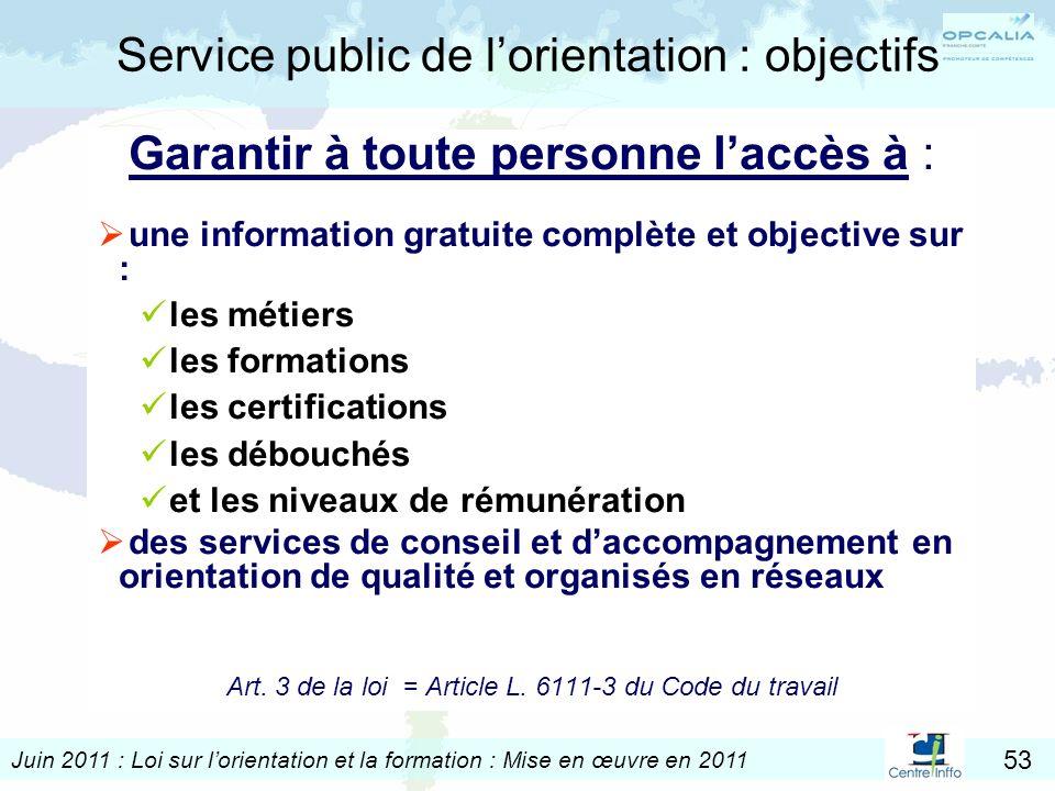 Service public de l'orientation : objectifs