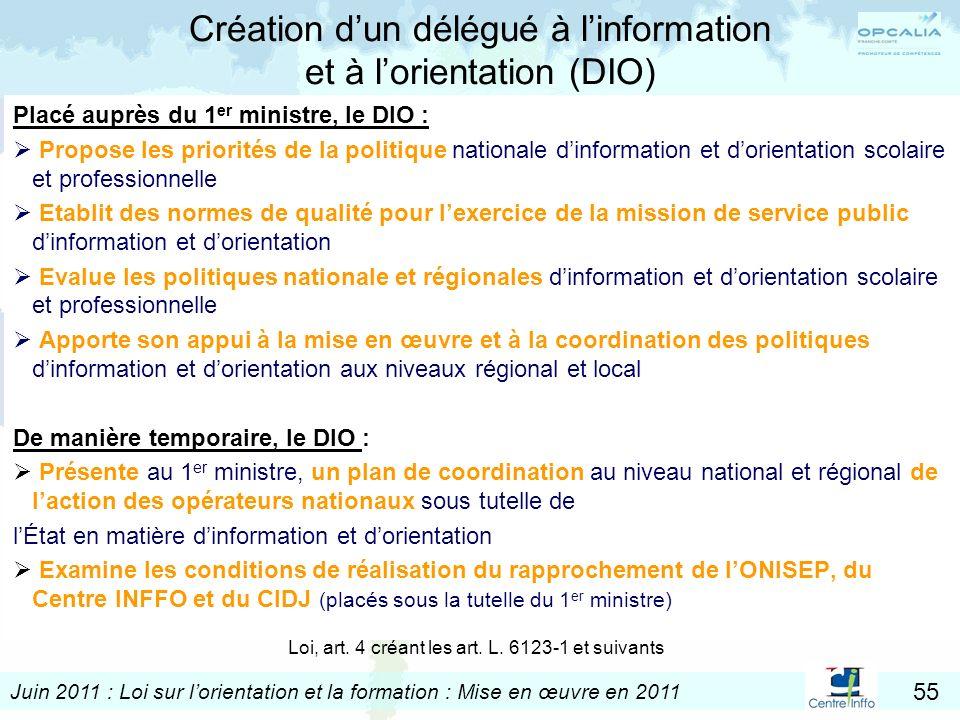 Création d'un délégué à l'information et à l'orientation (DIO)
