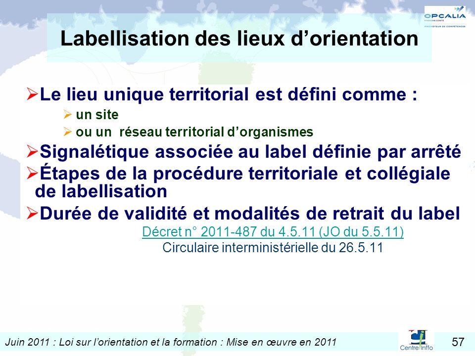 Labellisation des lieux d'orientation