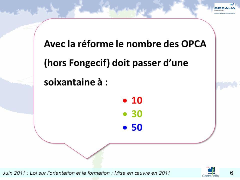 Avec la réforme le nombre des OPCA (hors Fongecif) doit passer d'une soixantaine à :