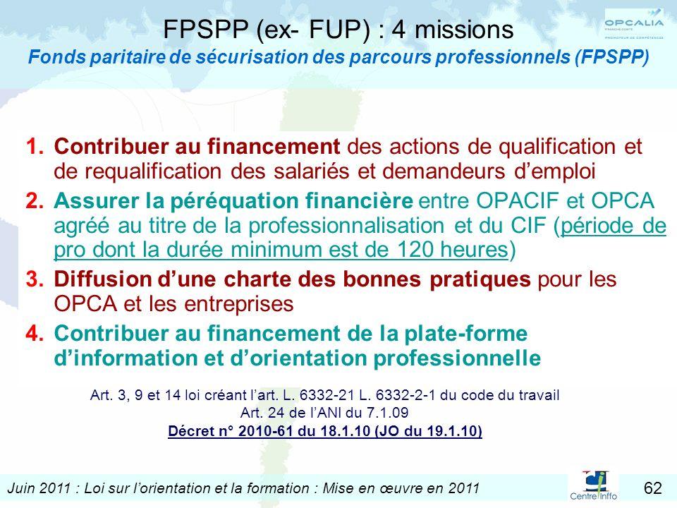 FPSPP (ex- FUP) : 4 missions Fonds paritaire de sécurisation des parcours professionnels (FPSPP)