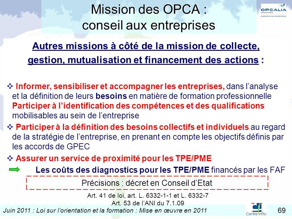Mission des OPCA : conseil aux entreprises