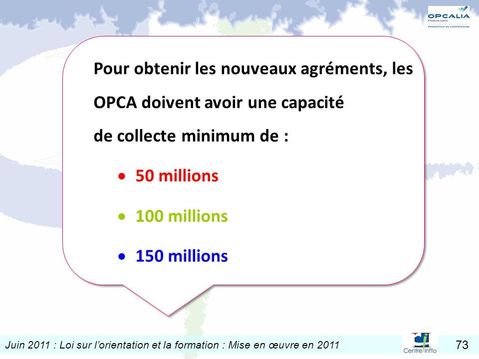 Pour obtenir les nouveaux agréments, les OPCA doivent avoir une capacité de collecte minimum de :