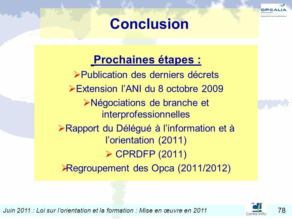 Conclusion Prochaines étapes : Publication des derniers décrets