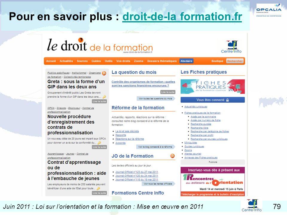 Pour en savoir plus : droit-de-la formation.fr
