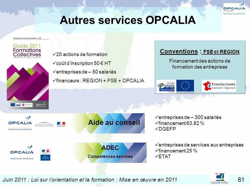 Autres services OPCALIA