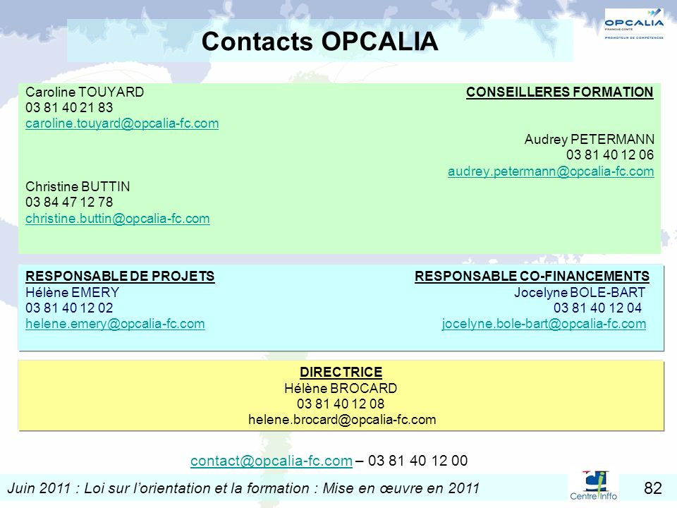 Contacts OPCALIA contact@opcalia-fc.com – 03 81 40 12 00
