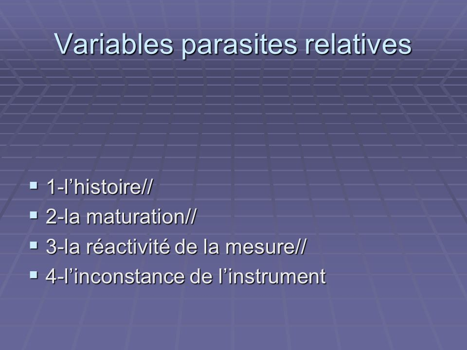 Variables parasites relatives