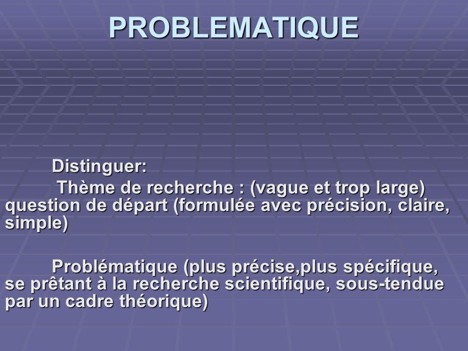 PROBLEMATIQUE Distinguer: