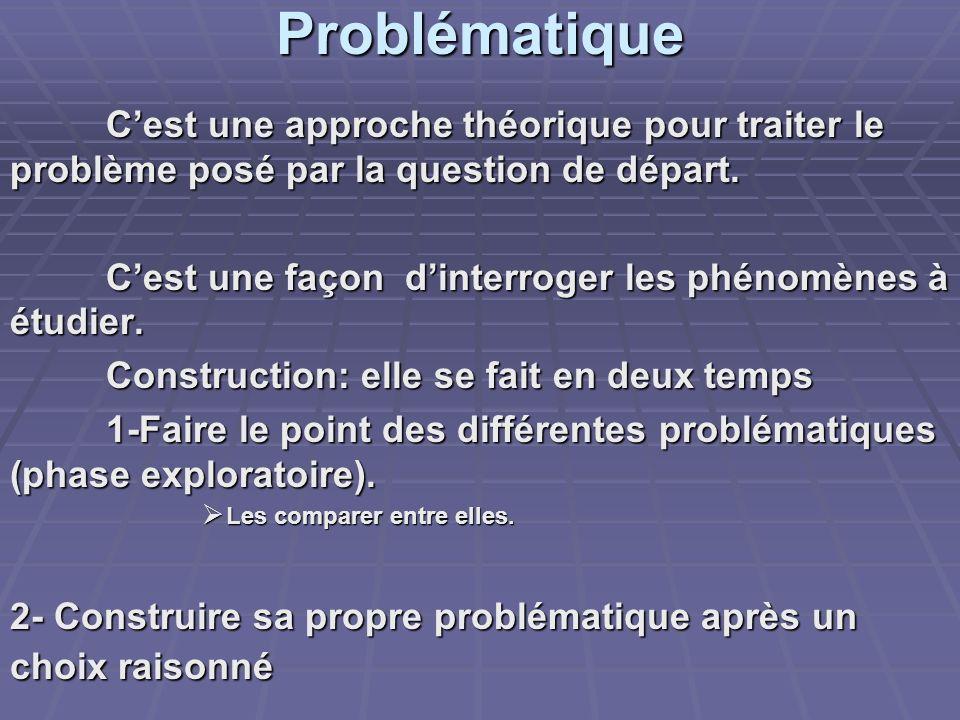 Problématique C'est une approche théorique pour traiter le problème posé par la question de départ.