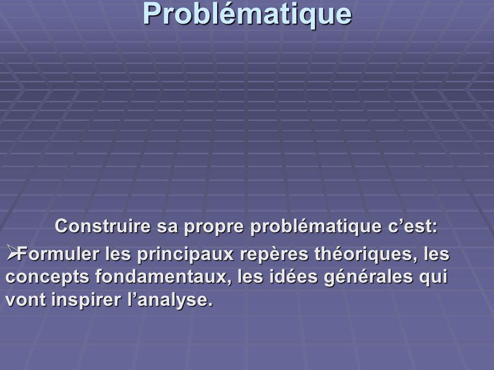 Problématique Construire sa propre problématique c'est: