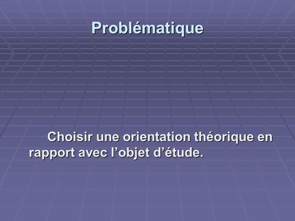 Problématique Choisir une orientation théorique en rapport avec l'objet d'étude.