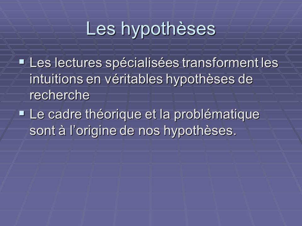 Les hypothèses Les lectures spécialisées transforment les intuitions en véritables hypothèses de recherche.