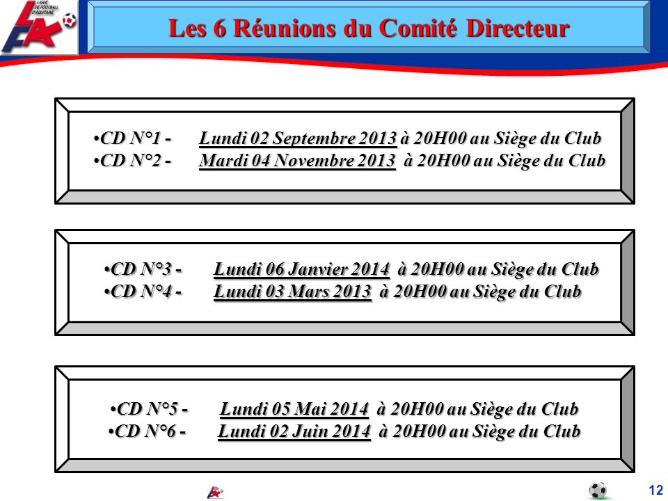 Les 6 Réunions du Comité Directeur