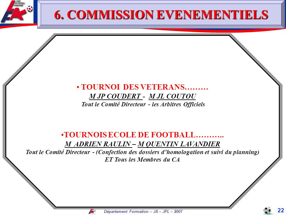6. COMMISSION EVENEMENTIELS