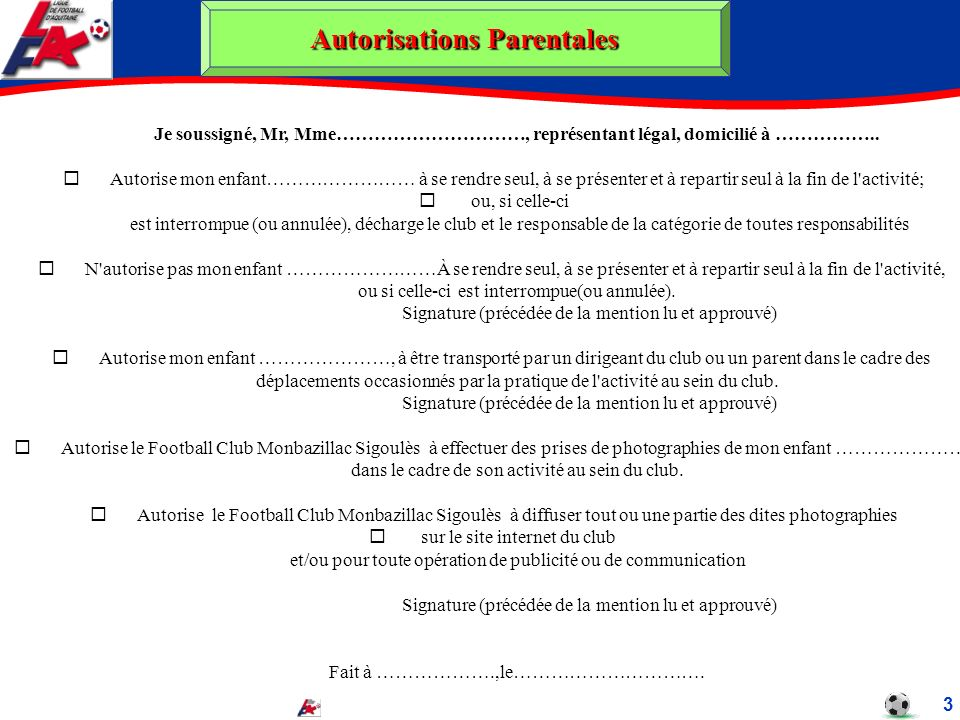 Autorisations Parentales