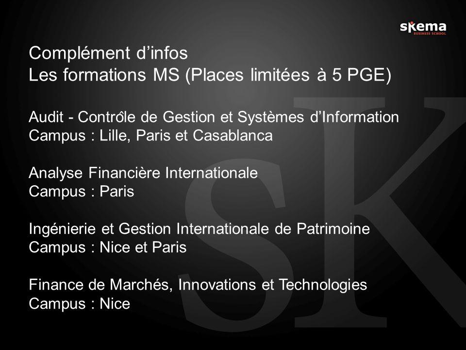 Les formations MS (Places limitées à 5 PGE)