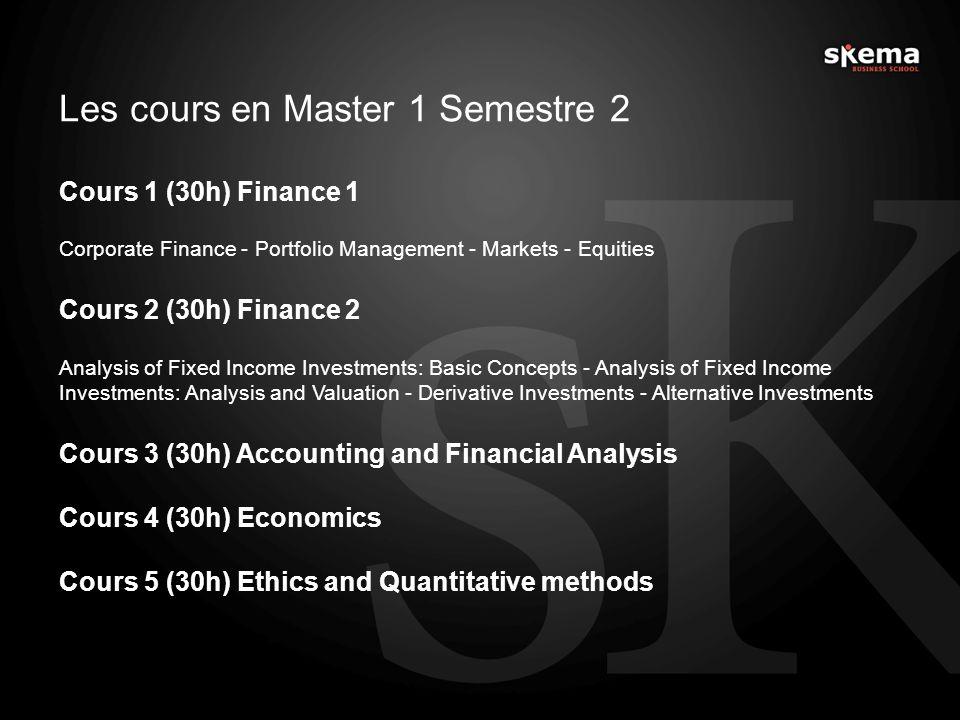 Les cours en Master 1 Semestre 2