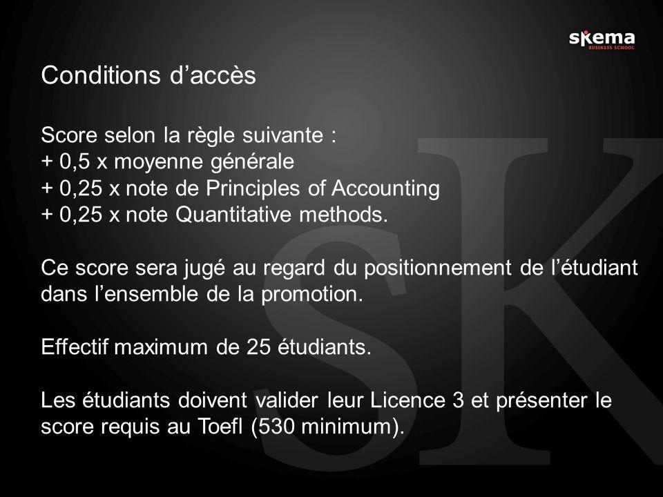 Conditions d'accès Score selon la règle suivante :