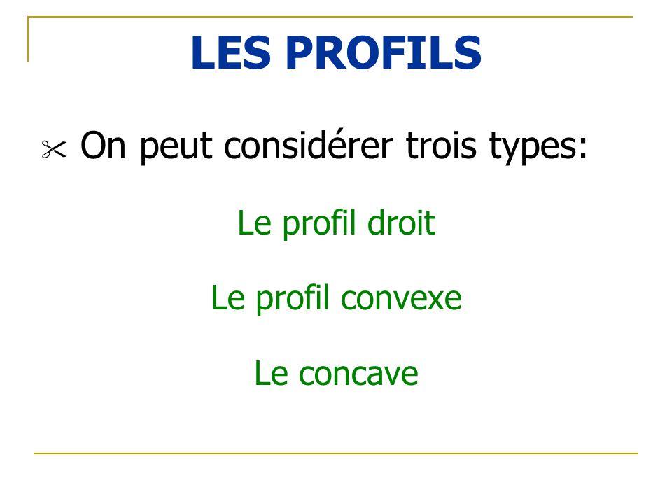 LES PROFILS On peut considérer trois types: Le profil droit