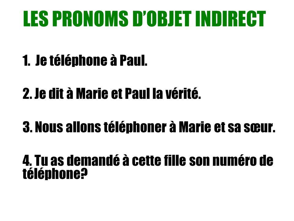 LES PRONOMS D'OBJET INDIRECT