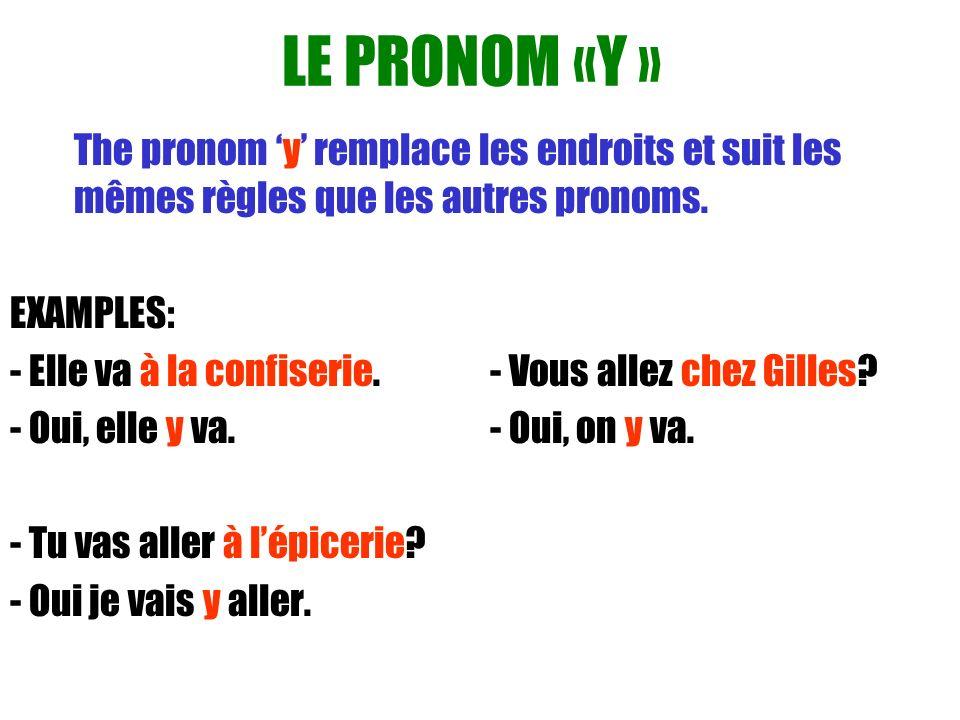 LE PRONOM «Y » The pronom 'y' remplace les endroits et suit les mêmes règles que les autres pronoms.