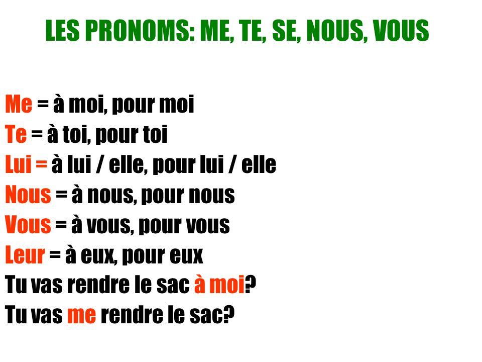 LES PRONOMS: ME, TE, SE, NOUS, VOUS