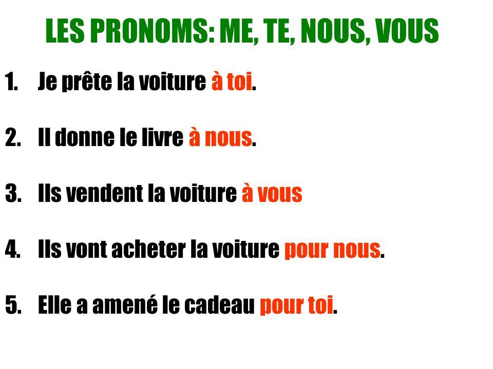 LES PRONOMS: ME, TE, NOUS, VOUS